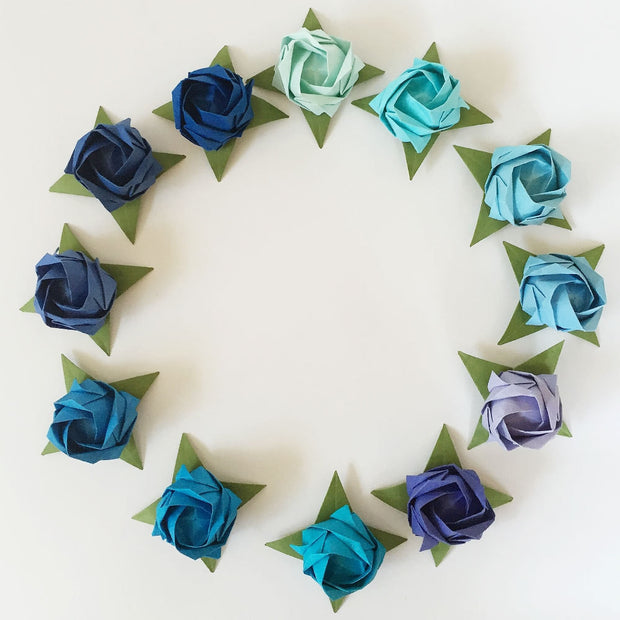 Set of 12 Origami Roses - Blue Shades Tant Paper (No Stems)