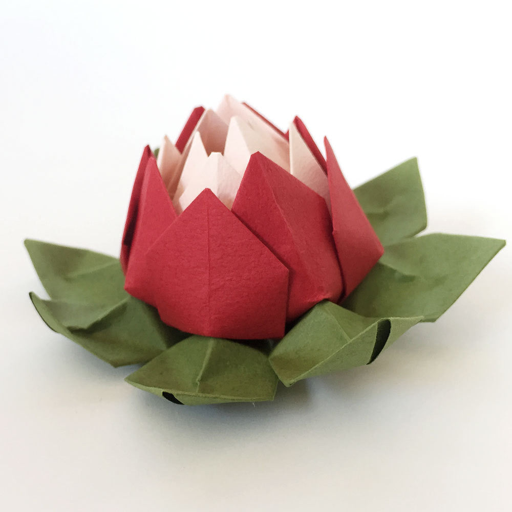 Set of 6 Red Shades Origami Lotus Flowers