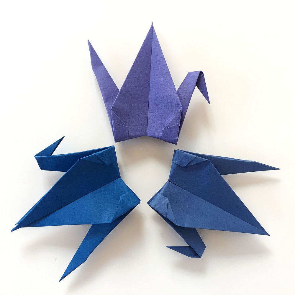 "Set of 48 6"" Blue Tones Tant Origami Paper Cranes"