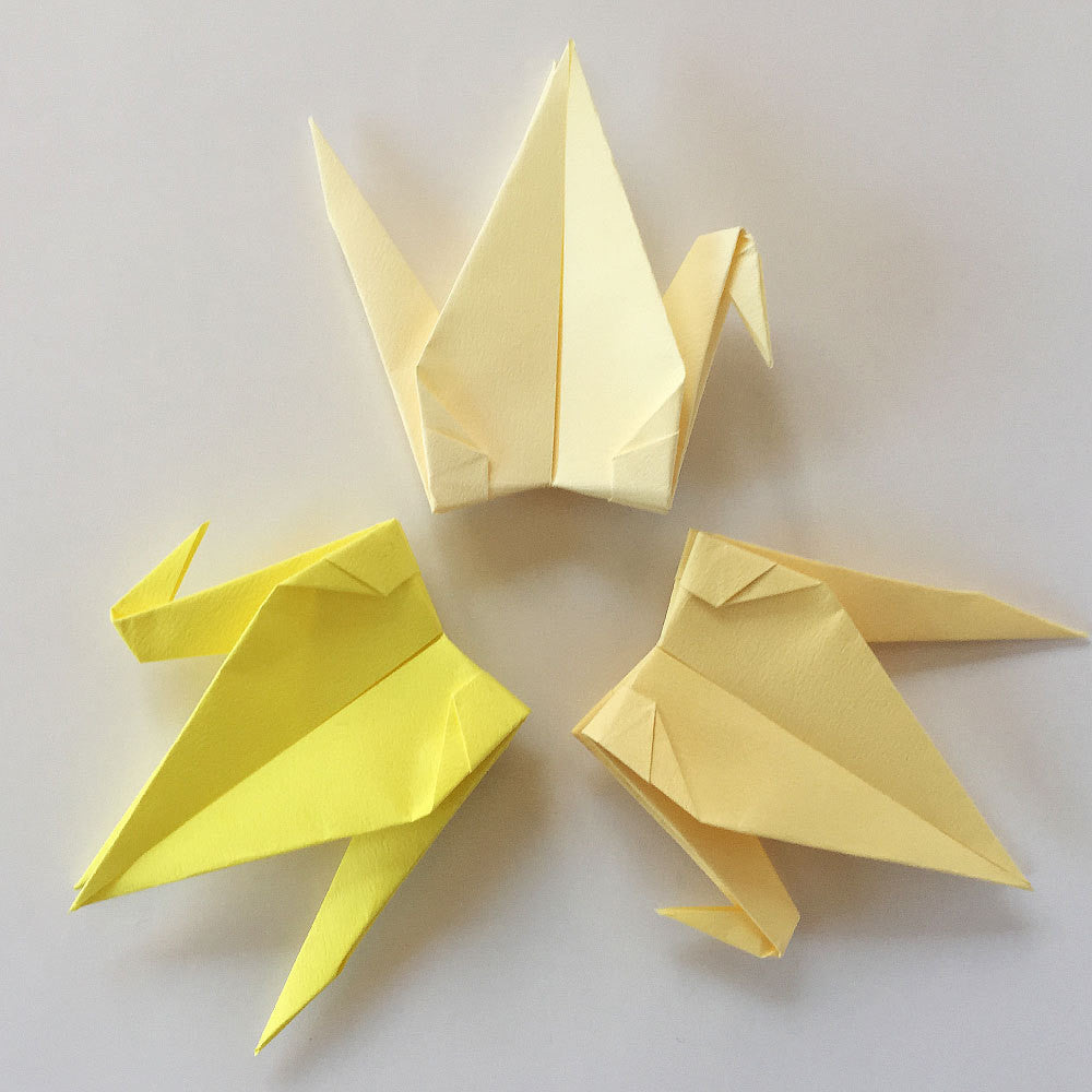 "Set of 48 6"" Yellow Tones Tant Origami Paper Cranes"