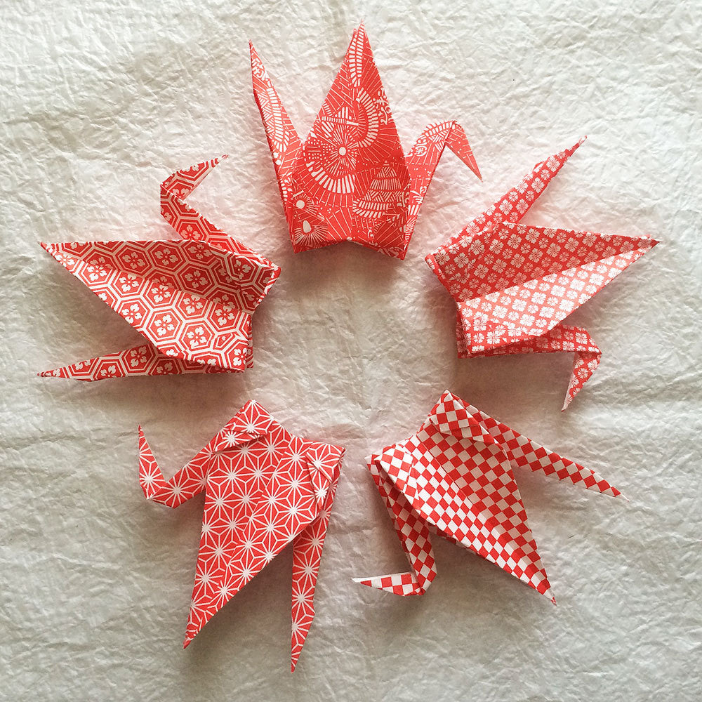 "100 6"" Multi Pattern Washi Chiyogami Origami Paper Cranes"