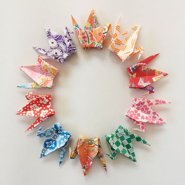"1000 3"" Multi Pattern Chiyogami Origami Paper Cranes"