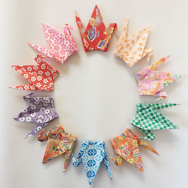 "1000 6"" Multi Pattern Chiyogami Origami Paper Cranes"