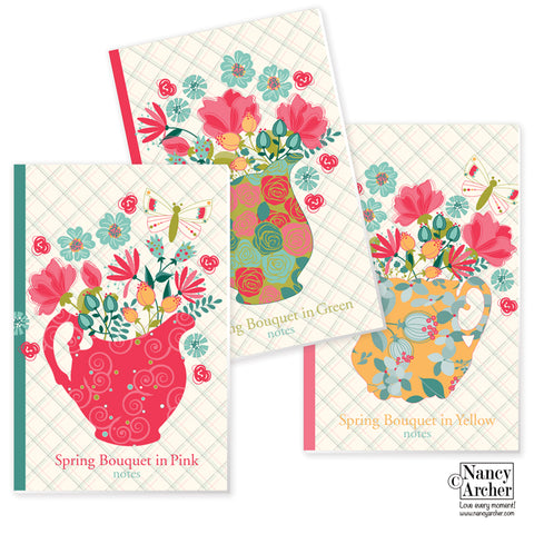 Spring Bouquet Writing Journal, Set of 3