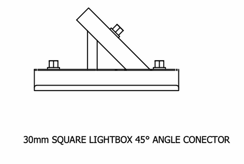 30mm Square Lightbox Angle Connector 45°