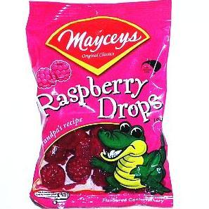 Mayceys- Raspberry Drops 100g