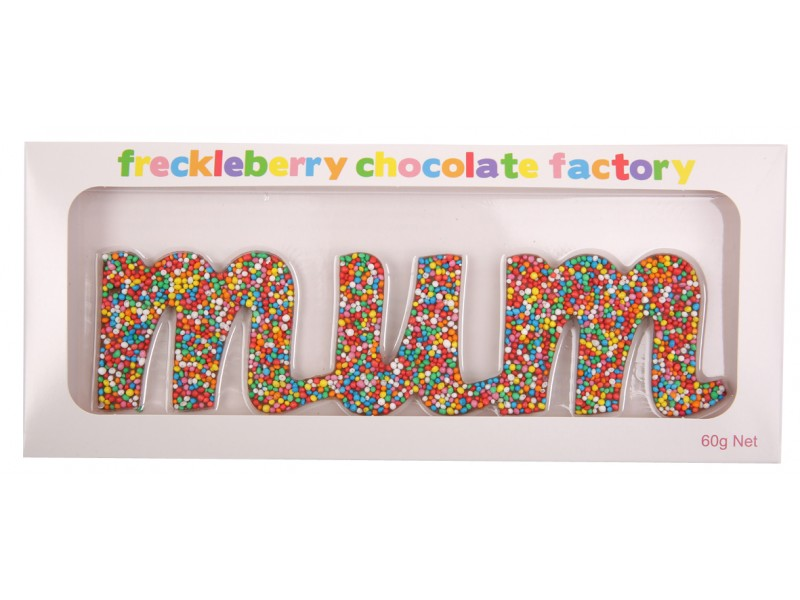 "Freckleberry ""mum"" Chocolate Word 60g"