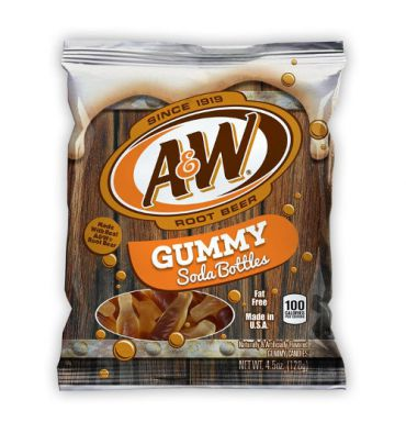 A&W Root Beer - Gummy Soda Bottles 127g Past Best Before