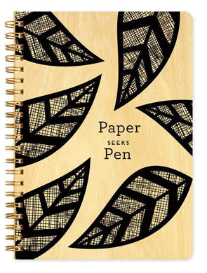 Paper Seeks Pen • Journal-Wood Notebook-Night Owl Paper Goods-RowaqBookstore