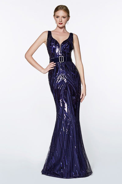 Sequined V-Neck Trumpet Dress - Fashdime shopfashdime.com