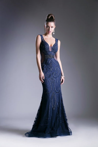 Beaded Deep V-Neck Trumpet Dress - Fashdime shopfashdime.com