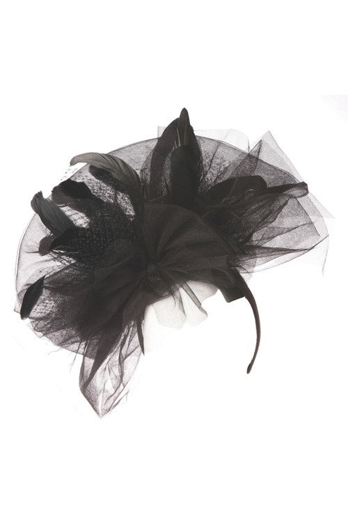 Feather and Mesh Fascinator - Fashdime