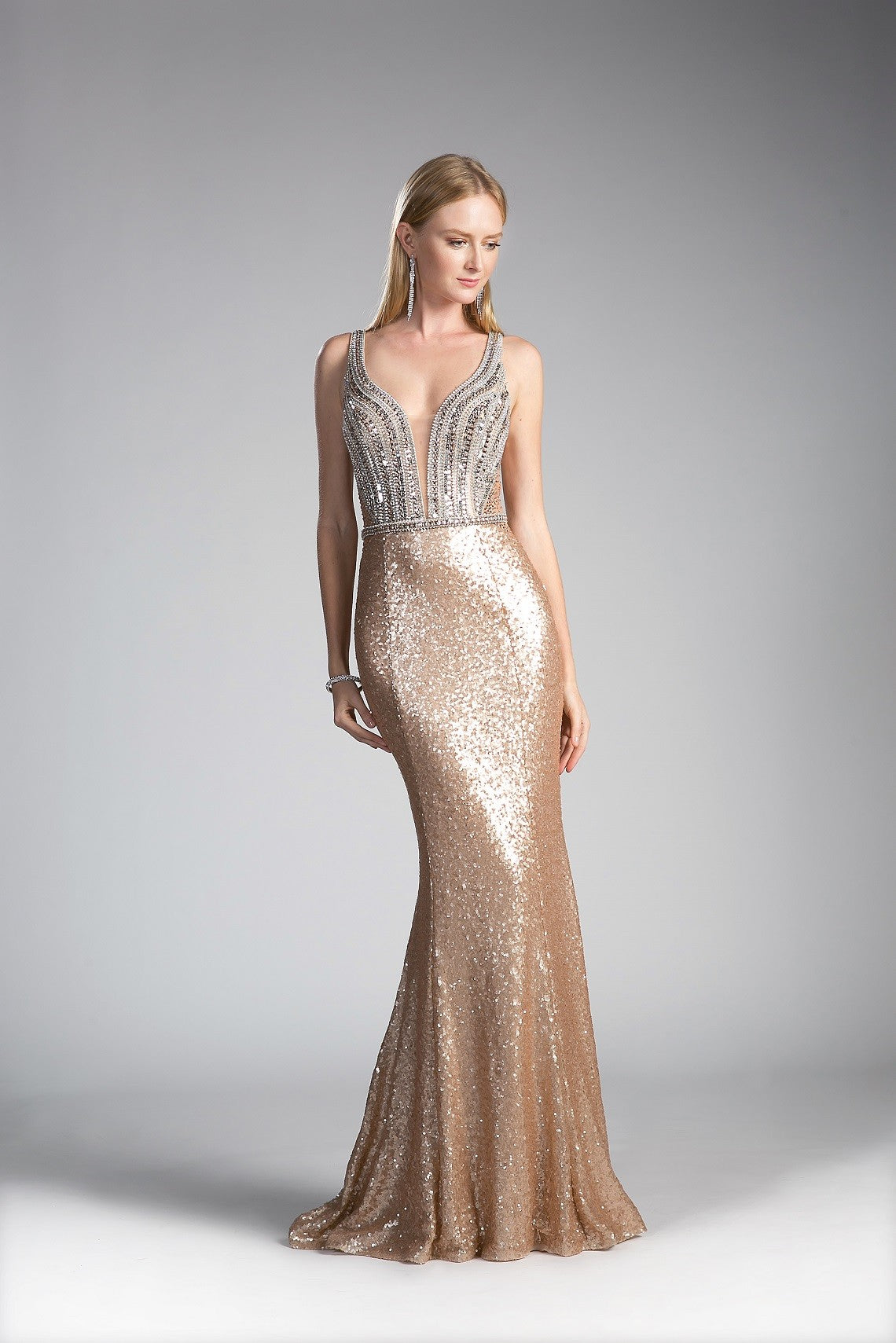 Beaded Bodice Sequin Sheath Dress - Fashdime