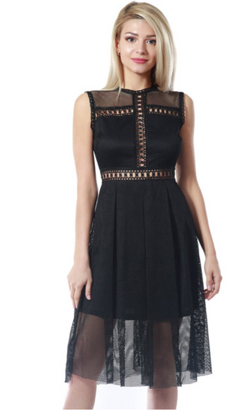 Black Lace Midi Dress - Fashdime shopfashdime.com