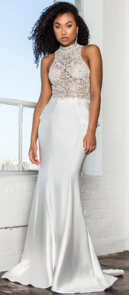 Long High-Neck Dress with Embroidered Bodice and Ruffle Back - Fashdime
