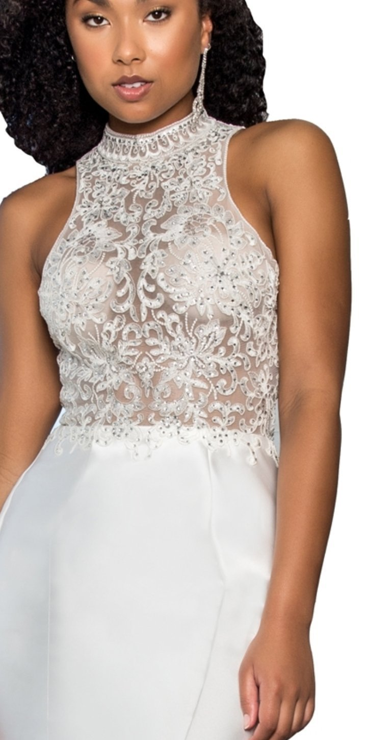 Long High-Neck Dress with Embroidered Bodice and Ruffle Back - Fashdime shopfashdime.com