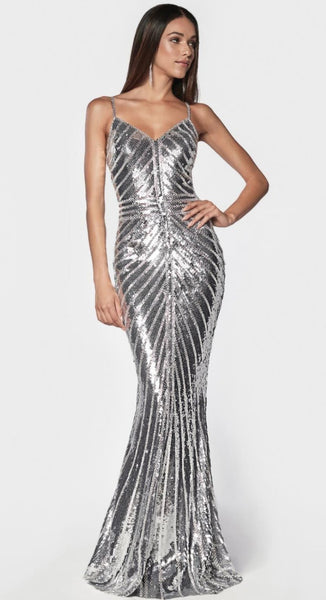 BEDAZZLED V-NECK MERMAID DRESS - Fashdime
