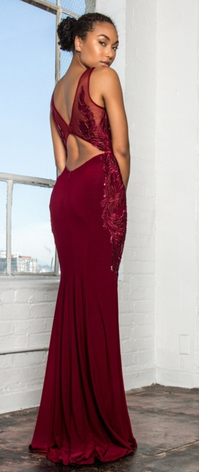 Open-Back Jersey Long Dress Accented with Side Embroidery - Fashdime shopfashdime.com