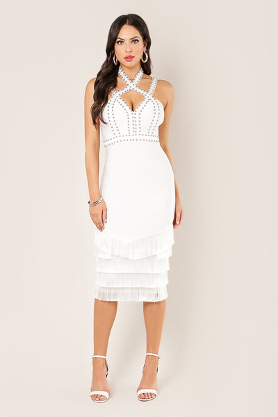 Stud Embellished Tiered Fringe Dress - Fashdime shopfashdime.com