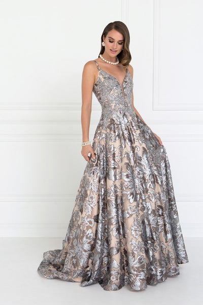 Sequin Wide V-Neck A-Line Long Dress with Lace Applique - Fashdime shopfashdime.com