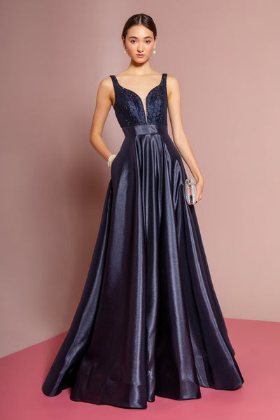 Satin Beaded Illusion V-Neck Long Dress - Fashdime
