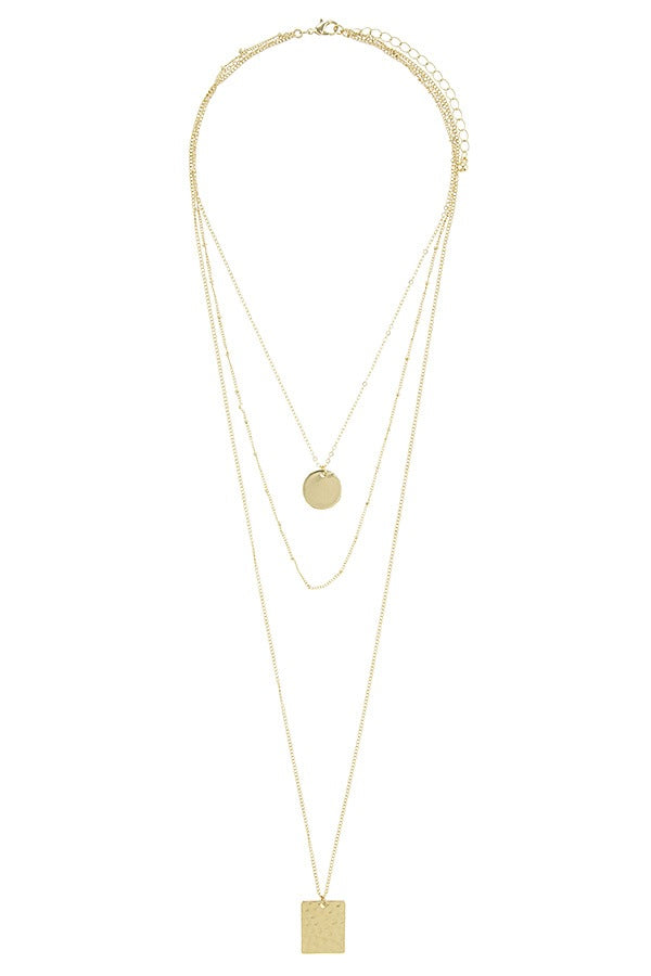 Square and circle disks multi layer necklace - Fashdime shopfashdime.com