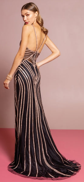 Long Sultry Sequin Stripe Dress - Fashdime
