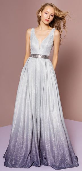 Glitter Crepe Ombre Jewel Long Dress - Fashdime