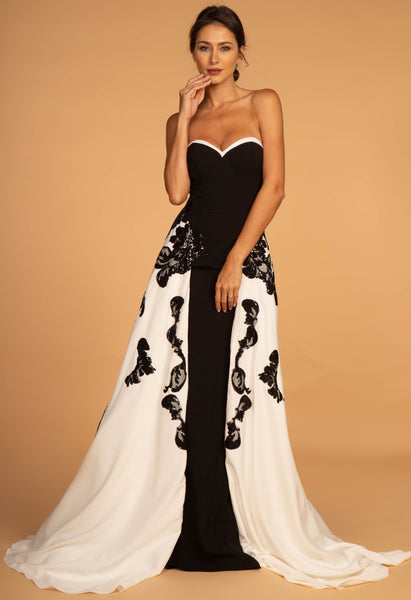 Strapless Long Black/White - Fashdime