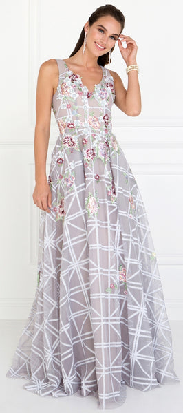 Tulle A-Line Long Dress Accented with Flower Embroidered - Fashdime