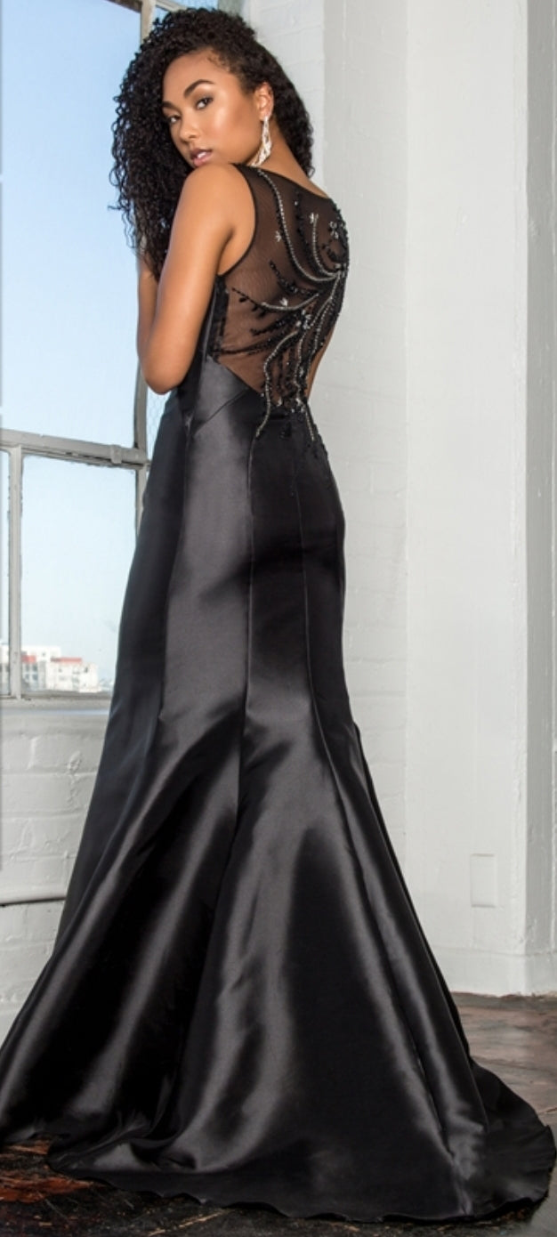 Trupet Style Mikado Long Dress Accented with Beads on Straps - Fashdime shopfashdime.com