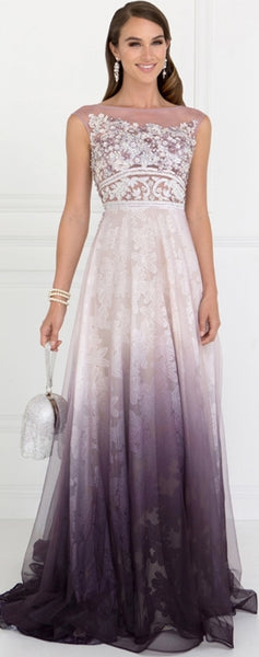Tulle A-Line Long Dress with Beads and Embroidery - Fashdime