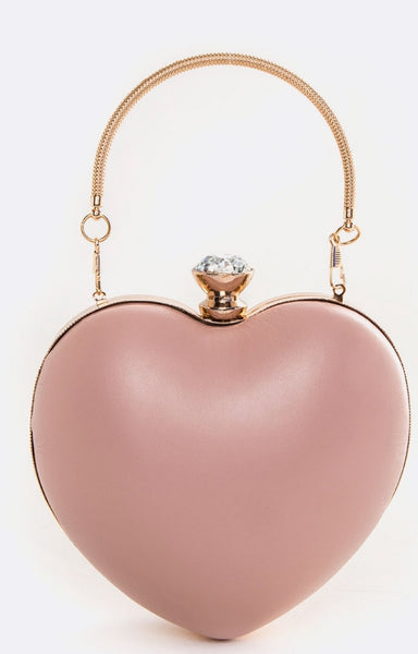 Top Handle Convertible Diamond Clasp Puff Heart Clutch Bag  - Fashdime shopfashdime.com