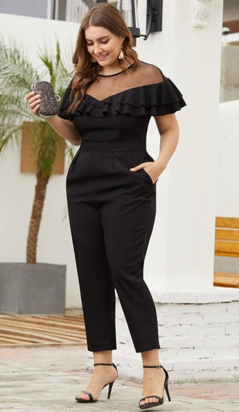 Mesh and Ruffle Top Jumpsuit - Fashdime