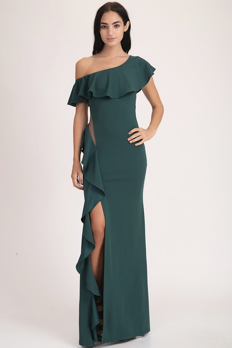 ONE SHOULDER MAXI DRESS - Fashdime