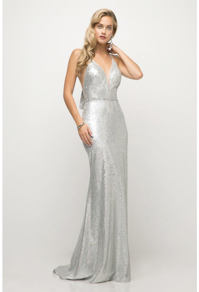 Sequined Deep V-Neck Trumpet Dress - Fashdime shopfashdime.com