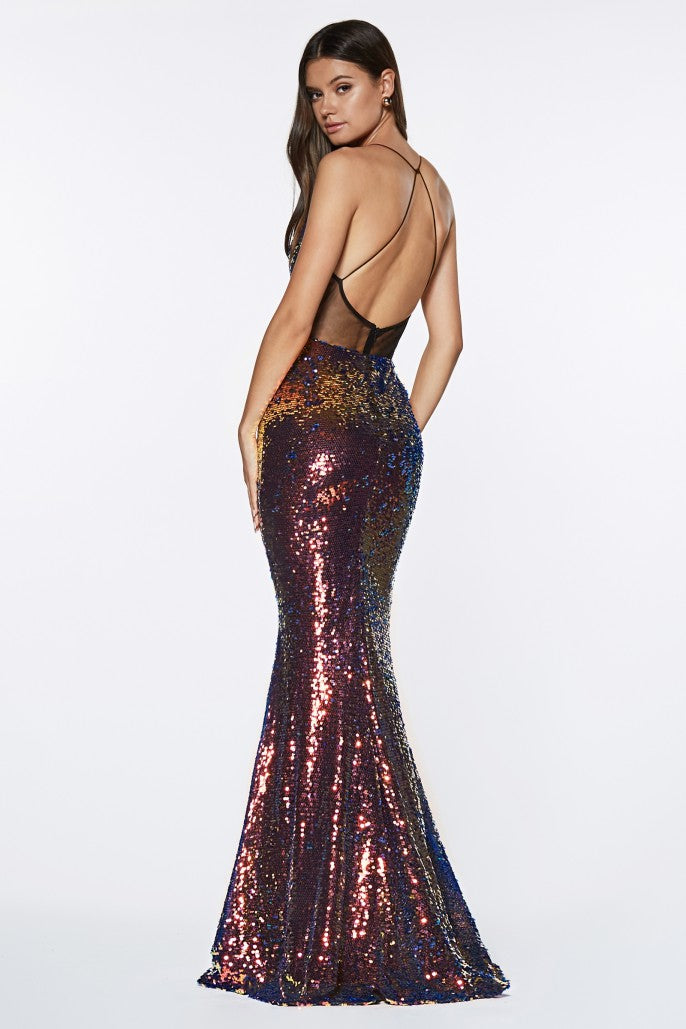 Fitted Iridescent Sequin Criss Cross Back. - Fashdime