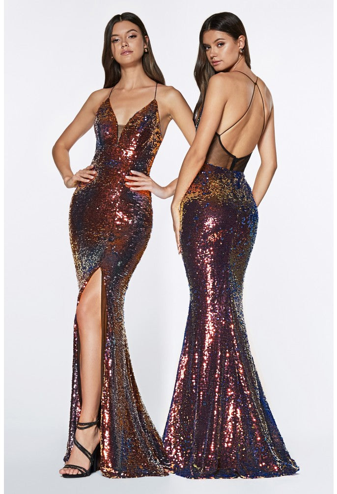 Fitted Iridescent Sequin Criss Cross Back. - Fashdime shopfashdime.com