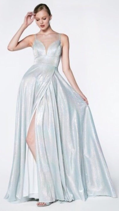 A-line slit gown hologram dress - Fashdime