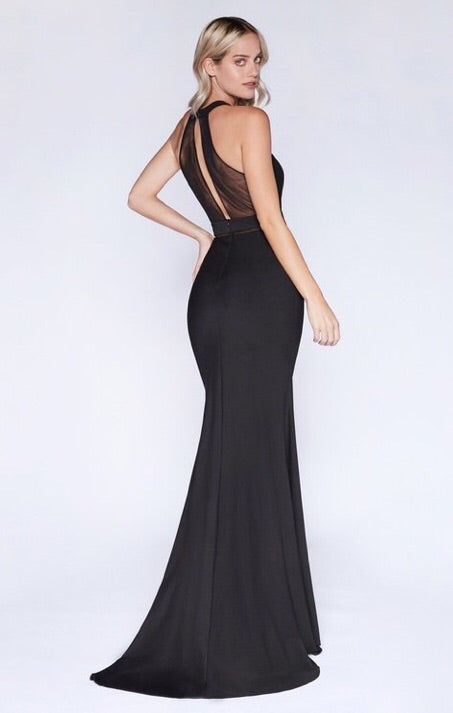 Fitting halter neckline and illusion dress - Fashdime shopfashdime.com