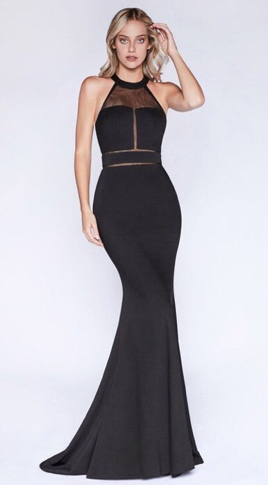 Fitting halter neckline and illusion dress - Fashdime