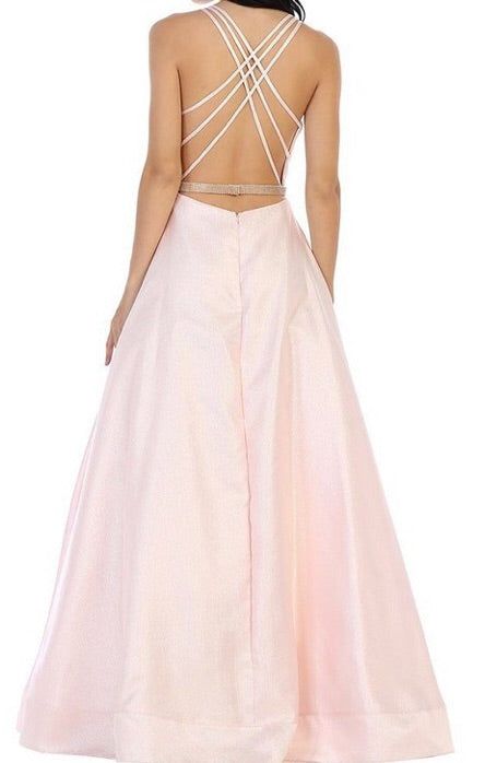 Metallic a-line ballgown with criss cross strappy back - Fashdime shopfashdime.com