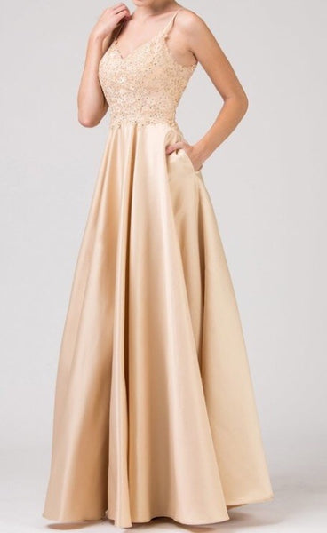 Satin pleated long dress w/ pockets - Fashdime shopfashdime.com