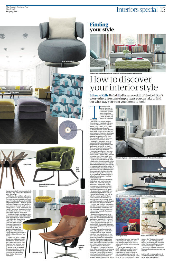 How to discover your interior style in the Sunday Business Post May '17