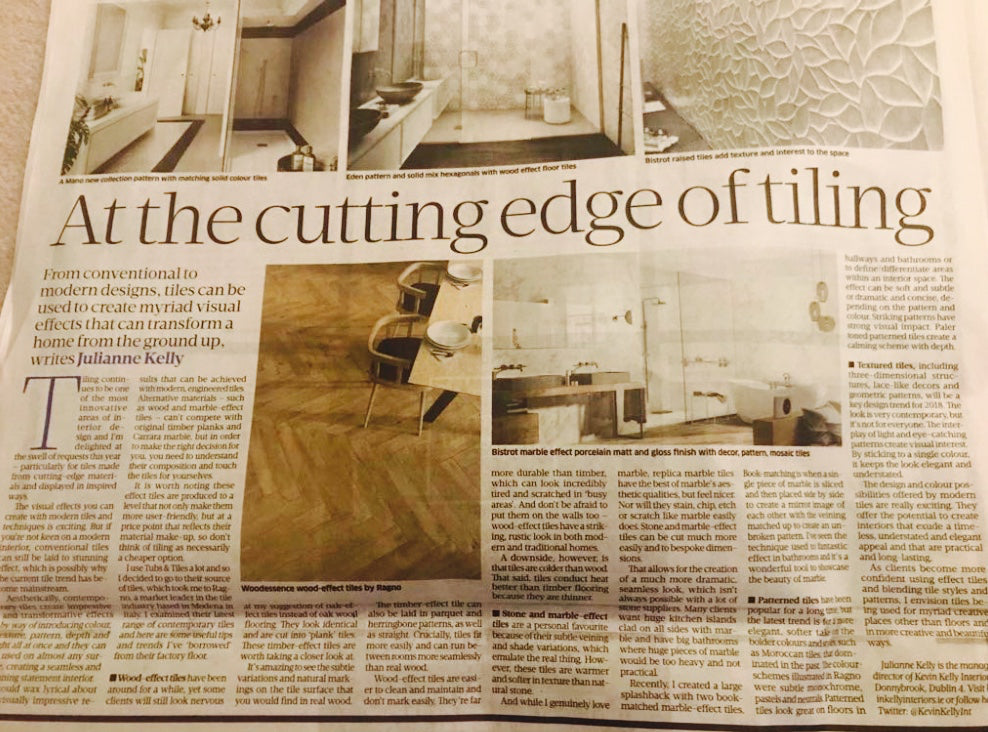 Tiles covered! Our tiling secrets in The Sunday Business Post May '17
