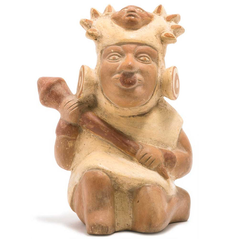 Peruvian Precolombian Ceramic Stirrup Vessel - Warrior w/Spear