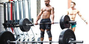 Grey knee sleeves deadlift