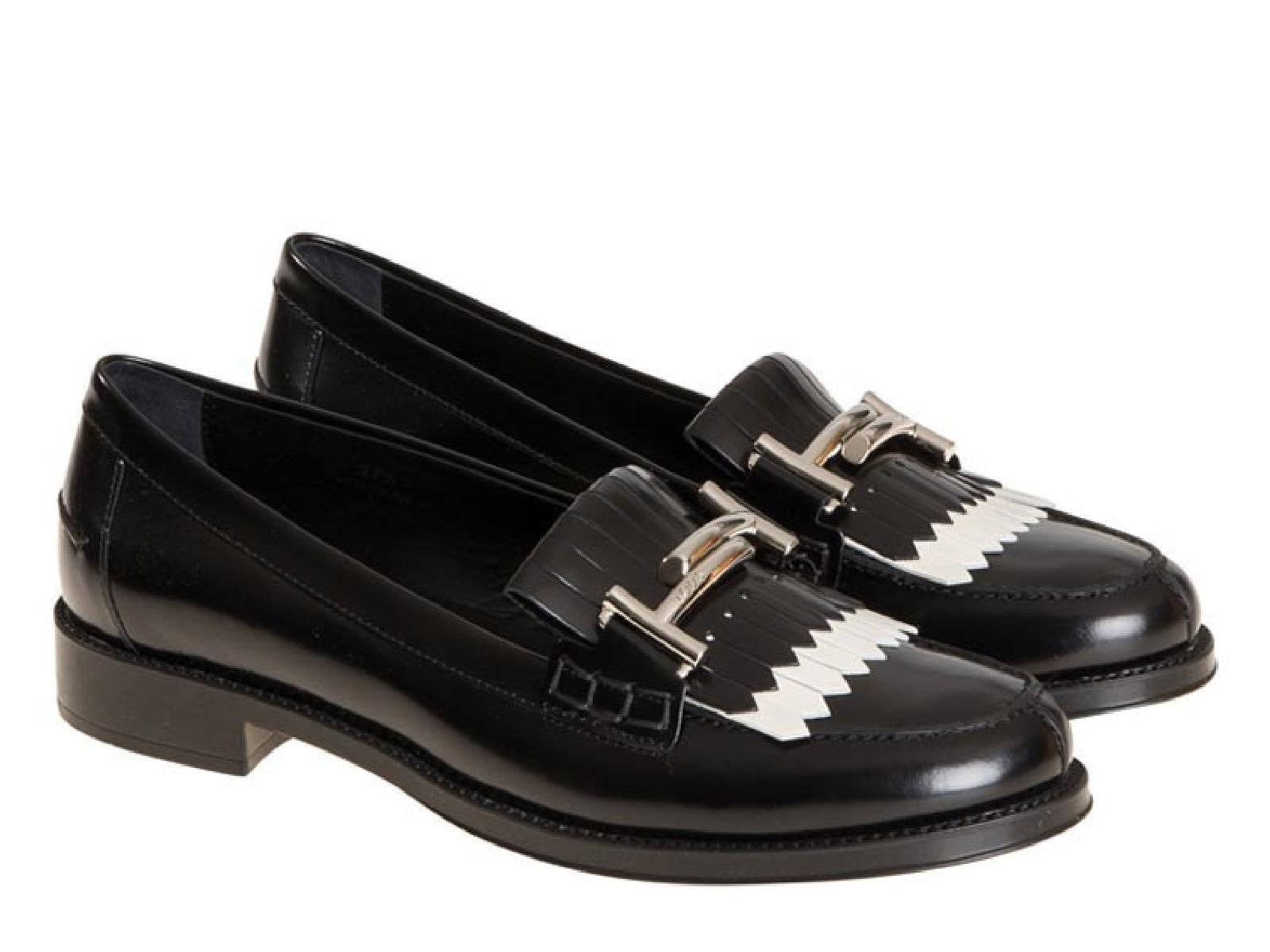 Tod s women s loafers in black shiny leather white fringe – Julicci.com 67d419139b1d7