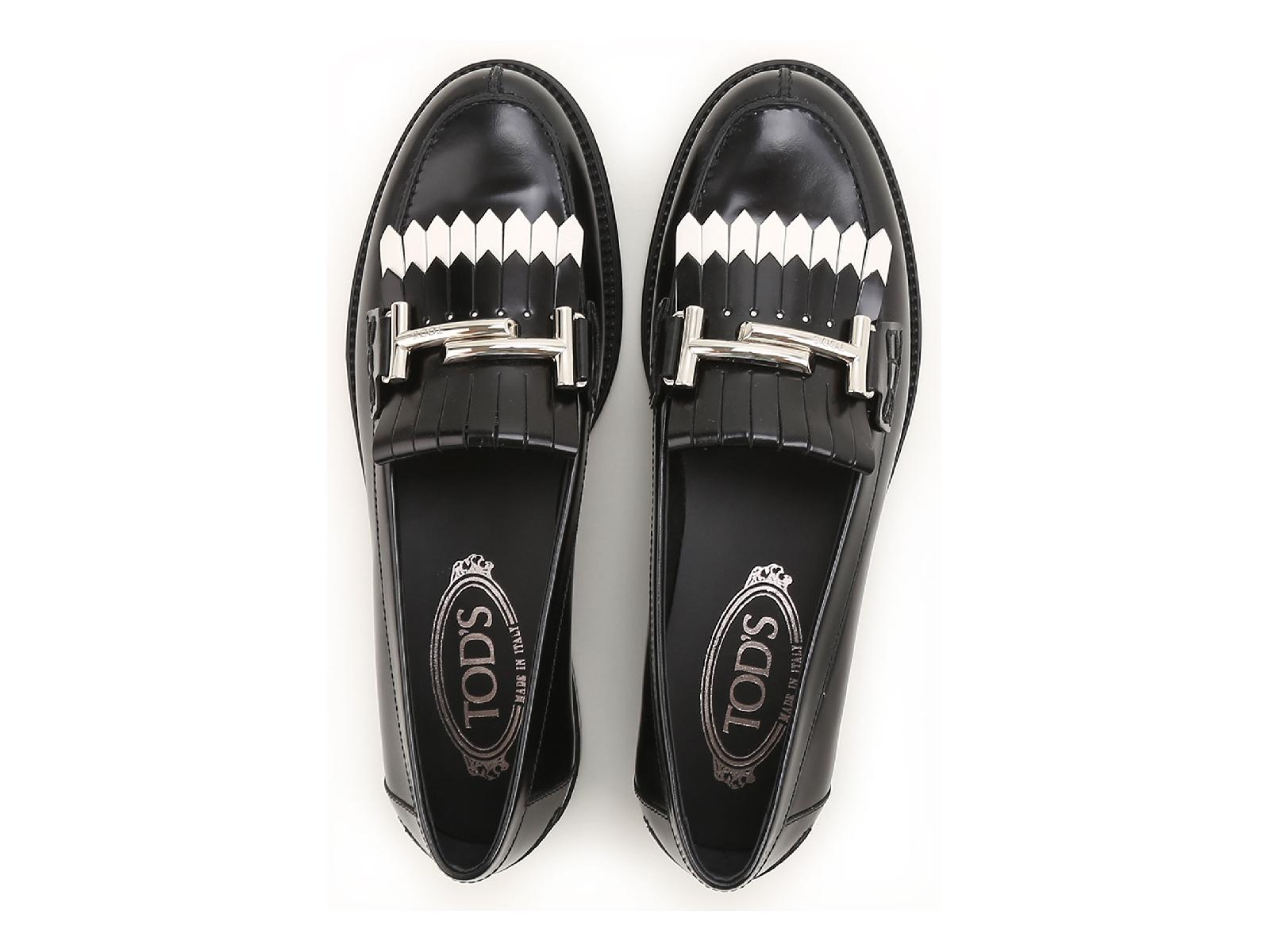 6526b3168cfc Tod s women s loafers in black shiny leather white fringe – Julicci.com