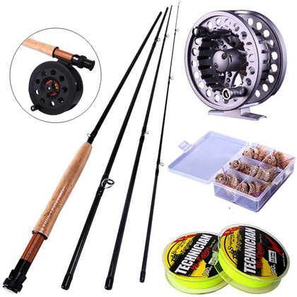 Sougayilang 2.7M/8.86FT Fly Fishing Rod 4Sections #5/6 and Fly Fishing Reel Set Fly Fishing Tackle Fishing Line and Hooks Free